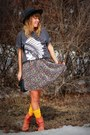 Tattoo-flash-fatal-t-shirt-leather-vintage-boots-floral-oneill-dress