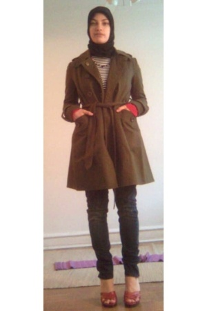 green f21 jacket - red Steve Madded shoes - blue H&M jeans - red vintage sweater
