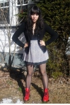 doc martens boots - vintage skirt - Urban Outfitters tights