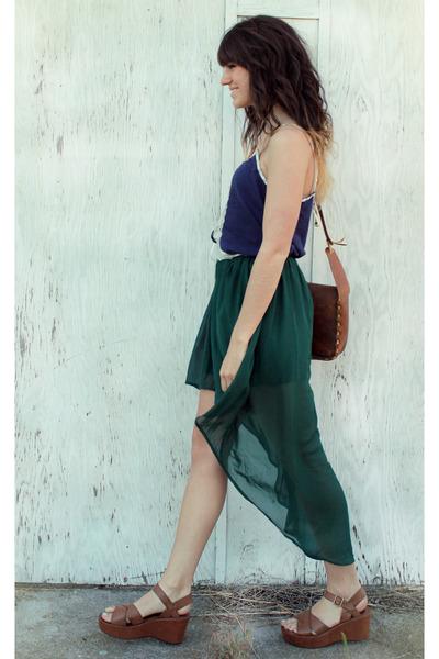 dark green high-low romwe skirt - dark brown vintage bag - navy Black Sheep top