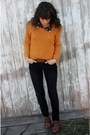 Brown-vintage-shoes-mustard-knitted-roxy-sweater