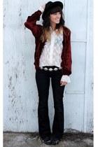 crimson vintage velvet jacket - ivory vintage lace top - silver Forever 21 belt