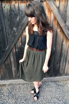 black crochet volcom top - army green thrifted skirt - dark brown thrifted belt