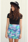 Turquoise-blue-watercolor-shop-akira-skirt-black-cropped-american-apparel-top