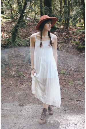 white free people dress - dark brown vintage boots