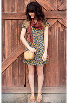 forest green dress - camel vintage bag - mustard vintage sandals