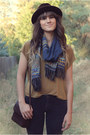 Mustard-top-dark-brown-vintage-stetson-hat-navy-knitted-scarf