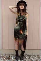 black hat - black thrifted boots - dark green galaxy print dress