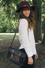 Crimson-hat-dark-brown-boots-black-bag-black-free-people-pants