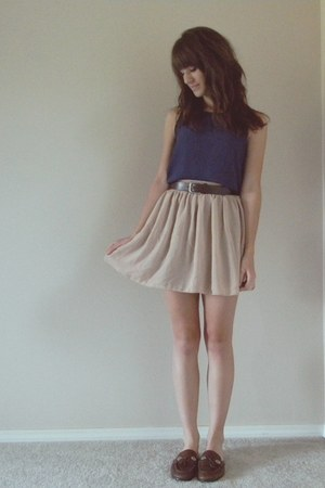 nude chiffon American Apparel skirt - navy polka dot Gap dress