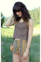dark brown fringe Camote Soup top - camel vintage bag