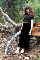 black velvet skirt - dark brown belt - black top