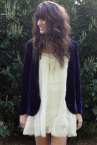 deep purple velvet jacket - ivory free people dress - gold necklace