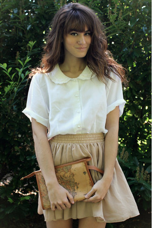 brown bag - camel American Apparel skirt - white top