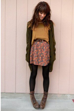 mustard cropped top - dark brown vintage boots - coral dress