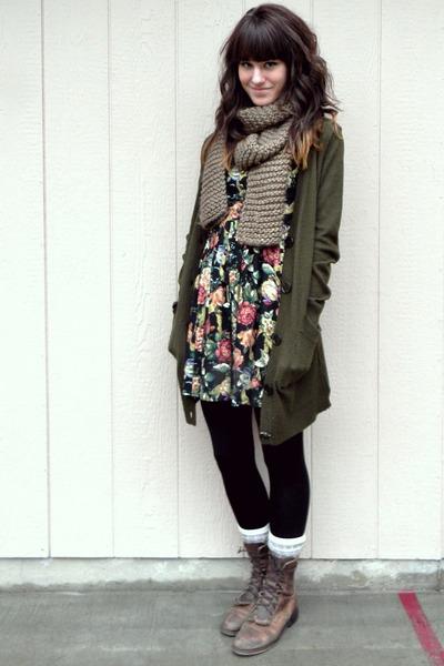 crimson floral Forever 21 dress - dark brown vintage boots