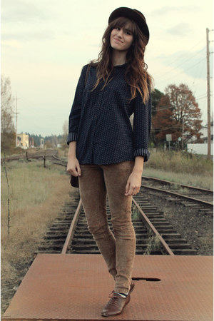 dark brown vintage hat - brown free people pants - navy 100 cotton merona blouse