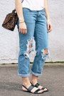 Blue-jeans-white-shirt-dark-brown-jesslyn-blake-bag-black-sandals