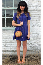 deep purple DRESS IS FOR SALE dress - gold vintage straw purse