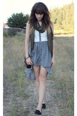 charcoal gray dress - black Curfew shoes - army green scarf