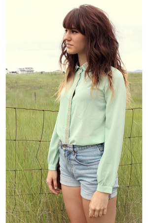 light blue high waisted lucky shorts - aquamarine studded jovonna london blouse