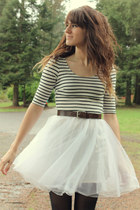 white striped dress - black tights - dark brown vintage belt