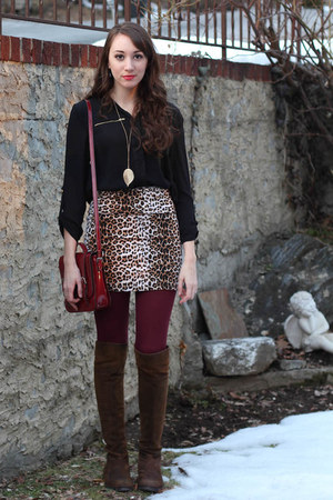 dark brown adrienne vittadini boots - brick red American Apparel tights