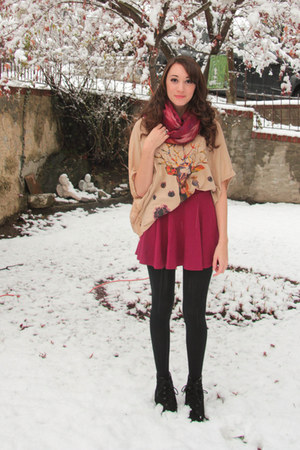 reindeer shirt - lace-up Forever 21 boots - red H&M skirt
