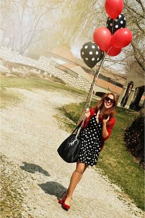 black dress - black polka dot bag kate spade bag