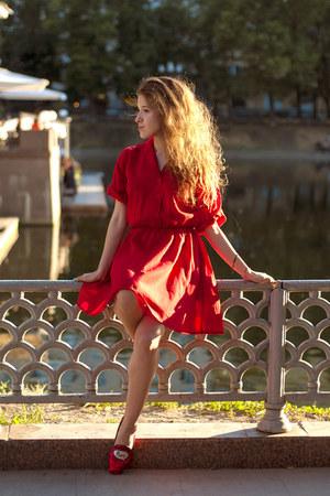 red vintage dress - red Black Milk Martine Sitbon loafers