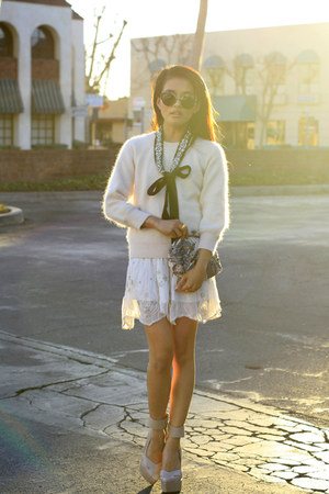 Club Monaco sweater - sequin clutch Club Monaco bag - Super sunglasses