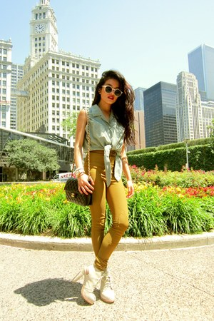ivory Alexander Wang boots - olive green riding pants American Apparel leggings