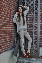 Jeffrey Campbell wedges - free people sweater - pence pants