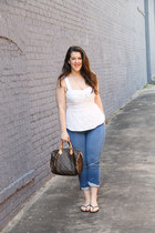 Anthropologie top - banana republic jeans - Louis Vuitton bag