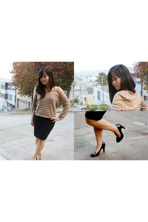 tan Topshop jumper - black Forever 21 skirt - black Nine West heels