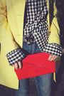Red-clutch-vintage-bag-yellow-trench-target-coat