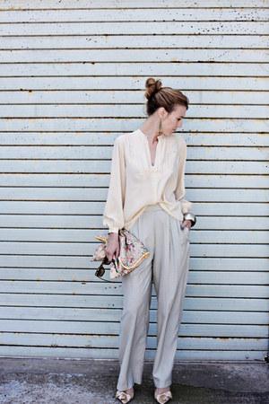 bubble gum vintage bag - cream silk shell vintage top