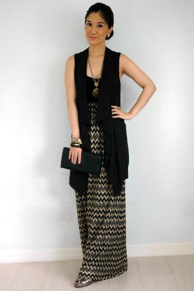 black Forever 21 dress - black YSL bag - black bysi vest - gold cru earrings