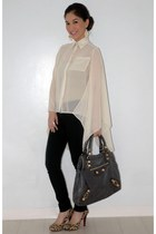 blue balenciaga bag - black Forever 21 pants - beige Dorothy Perkins pumps