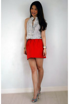 red Zara skirt - black Chanel bag - gold H&M bracelet - white Philip Stein watch