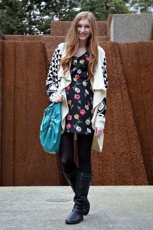 Forever 21 cardigan - floral Tucker for Target dress - Target bag