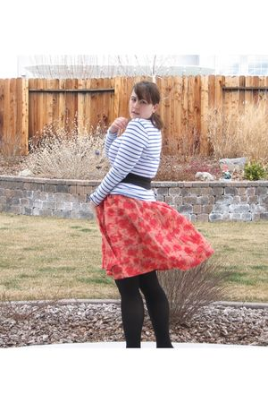 red H&M dress - black HUE tights - white Old Navy shirt - black Forever 21 belt