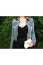 Black-trivium-diy-dress-denim-thrifted-jacket-white-beaded-vintage-purse