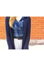 Navy-wool-gap-cardigan-plaid-thrifted-blouse