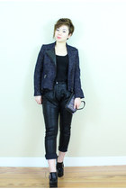 black Jeffrey Campbell shoes - navy Zara jacket - black H&M shirt - black pants