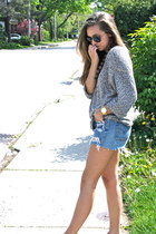 Levis shorts - American Apparel sweater - Ray Ban sunglasses - Zara sandals