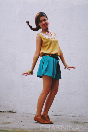 teal skirt with belt OASAP skirt - mustard Forever 21 top
