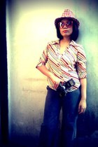 orange gift blouse - dark gray YRYS jeans - ruby red Finds hat