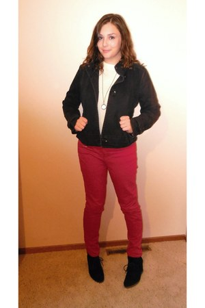 red Target jeans - black Old Navy jacket - white Forever 21 sweater