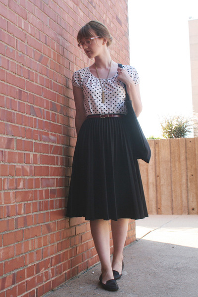 black fieldguided bag - black skirt - polka dot Joe Fresh top - Old Navy flats
